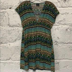 V-Neck Demi-Sleeve Mini Dress